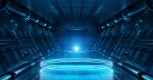 Blue Spaceship Interior With Glowing Neon Lights Podium On The Floor. Futuristic Corridor In Space Station With Circles Background. 3d Rendering