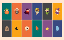 Instagram Story Icons, Highlights. Children In Costumes Of Creepy Halloween Creatures, Characters. Vampire, Witch, Skeleton, Pumpkin, Mummy, Frankenstein, Tomb, Ghost, Skull, Moon, Star, Leaf.