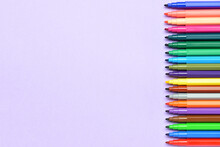 Colorful Markers On Color Background