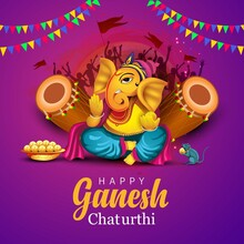 Lord Ganpati On Ganesh Chaturthi Background. Vector Illustration Off-white Background.