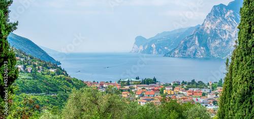 Fotografie, Obraz Torbole Garda panorama view from top