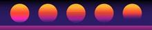 Retro Sun 80s Neon Sunset Vintage Design Dark Background Vector Illustration Abstract Cyberpunk Sun Template