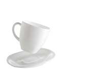 White Flying Cup And Saucers On An Isolated Background.