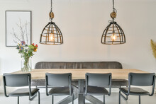 Stylish Dining Zone With Lamps
