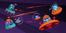 Aliens Spaceship Battle Composition