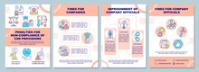 CSR Non-compliance Penalties Brochure Template. Breach Consequences. Flyer, Booklet, Leaflet Print, Cover Design With Linear Icons. Vector Layouts For Presentation, Annual Reports, Advertisement Pages