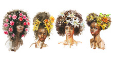 Watercolor Portrait Of African Women With Flowers. Painting Set With Ladies And Roses, Sunflowers, Lilies. Hand Drawn Fashion Illustration On White Background.