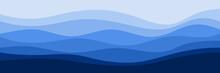 Blue Wave Pattern Vector Illustration Good For Web Banner, Ads Banner, Tourism Banner, Wallpaper, Background Template, And Adventure Design Backdrop