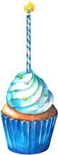 Blue Birthday Celebration Cupcake