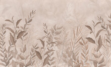 Photo Wallpapers For Walls. Beautiful Leaves On A Beige Background. A Mural For A Room. Painted Grass.