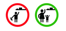Stick Man Sign, Keep Out Of The Reach, Keep Away From Children Or Store In A Place Inaccessible To Children. Vector Illustration. Flat Vector Stickfigure Pictogram