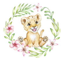Cute Lion Cub  In Tropical Plants, Leaves And Flowers Isolated On White Background. Lion Baby. African Animals. Safari. Illustration. Template. Hand Drawn. Greeting Card Design. Clip Art.