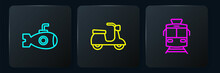 Set Line Submarine, Tram And Railway And Scooter. Black Square Button. Vector