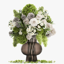 Bouquet Of Green Flowers In A Glass Vase