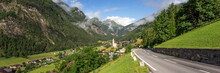 Panorama Of Heiligenblut With St. Vincent Church In Front Of The Hohe Tauern Mountains. Austria