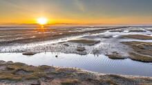 Aerial View Over Salt Marsh Plains Wadden Sea