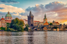 The City Of Prague At Sunset