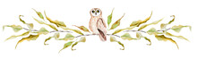 Owl On Branches Of An Autumn Tree Watercolor Border. Template For Decorating Designs And Illustrations.