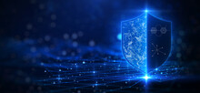 Cybersecurity Technology Privacy Concept To Protect Data. There Is A Shield On The Right Hand Side. Against A Dark Blue Background With Glittering Lights As The Background.