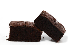 Delicious Brownies Cake On White Background For Bakery, Food And Eating Concept