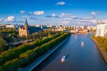 Aerial Top View Kaliningrad Russia, Cathedral On Island Of Kant And Fishing Village, Summer Blue Sky