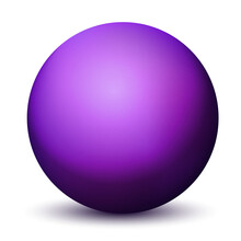Glass Purple Ball Or Precious Pearl. Glossy Realistic Ball, 3D Abstract Vector Illustration Highlighted On A White Background. Big Metal Bubble With Shadow
