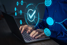 Quality Assurance And Certification. Certified Internet Businesses And Services. Compliance To International Standards And Regulations. Concept With Consultant In QA Management Working On Computer.