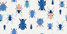 A Fun And Unique Seamless Vector Pattern Featuring Illustrations Of Blue Beetles And Bugs. Additional Fractal Pattern Included To Compliment Designs.