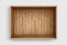 Realistic Wooden Box Of Old Planks. Empty Crate Made Of Planks With Top View. Open Cargo Box Mockup Template
