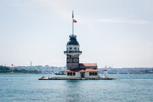 The Historical Maiden's Tower, One Of The Symbols Of Istanbul. Maiden's Tower On The Bosphorus In Üsküdar. View Of Maiden's Tower And Sarayburnu. Bosphorus And Maiden's Tower View.