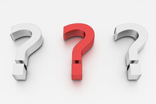 3D Rendering Of A Red Question Mark Between Two White Marks On White Background