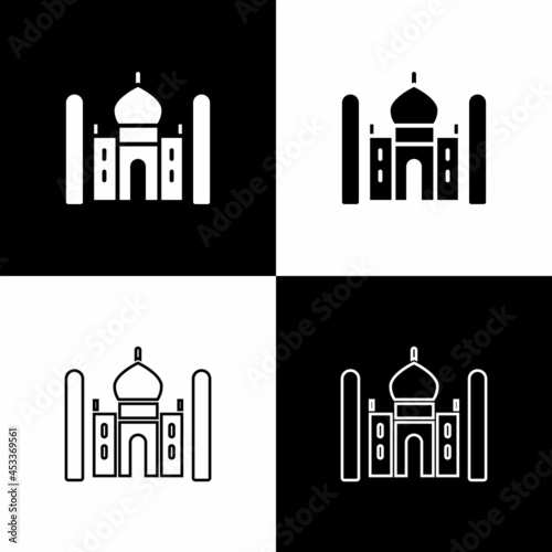 Fototapeta Set Taj Mahal mausoleum in Agra, Indiaicon isolated on black and white background