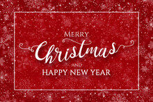 Red Christmas Winter Greeting Card Background Illustration, With Greeting Text, Snowflakes And Border Frame.
