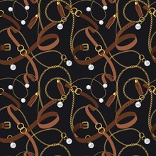 Belts Seamless Pattern. Gold Chains And Pendants, Bracelets And Leather Straps Elements Design For Fashion Wallpaper Vector Texture