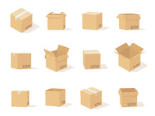 Carton Boxes. Opened And Closed Cardboard Box, Packaging For Delivery And Storage, Online Shipping Secure Parcel, Vector Set