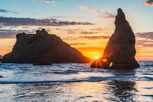 Sea Stacks On The Oregon Coast At Sunset.