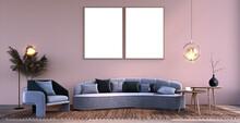 Interior Scene And Frame Mockup,Two Large Frames, Slatted Walls, Gray Three-seat Sofa, Gray Armchair, Brown Rug, Wood Grain Floor.