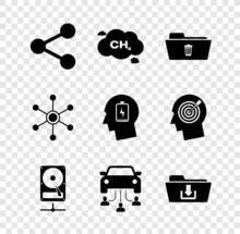 Set Share, Methane Emissions Reduction, Delete Folder, Hard Disk Drive Sharing Network, Car And Folder Download Icon. Vector