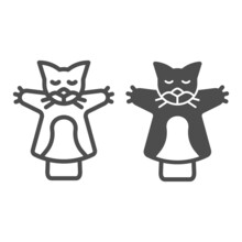 Cat, Kitty Puppet On The Hand Line And Solid Icon, Theater Concept, Puppet Aminals Vector Sign On White Background, Outline Style Icon For Mobile Concept And Web Design. Vector Graphics.