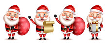 Santa Claus Christmas Character Vector Set. Santa Claus 3d Christmas Characters In Happy, Friendly And Jolly Expression With Gift And Letter Elements For Xmas Season Collection. Vector Illustration.