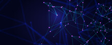 Connected Lines With Glowing Dots. Abstract Dark Blue Background. Mesh In Plexus Style. Blurred Backdrop. Vector Illustration.