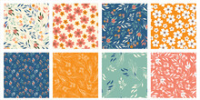 Set Of Wild Flowers Vector Seamless Pattern. Ditsy Style. Pattern For Fashion And Print.