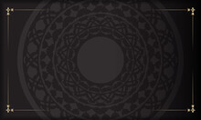 Black Banner With Luxurious Ornaments And Place For Your Logo. Template For Postcard Print Design With Greek Patterns.