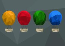 Set Of Polygonal Hot Air Balloon, Vector Illustration
