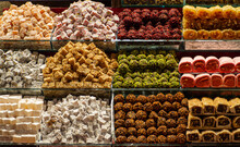 Assorted Turkish Delights On A Counter, Selective Focus