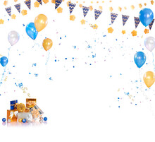 Congratulations With Colorful Balloons, Confetti And Ribbon On White Background.