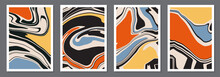 Set Of Trendy Retro 1970s Style Abstract Posters