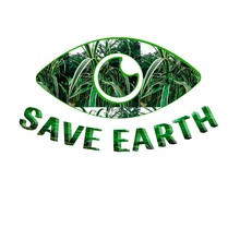 Save Earth Colorful Texture 3D Green Abstract Beautiful White Background