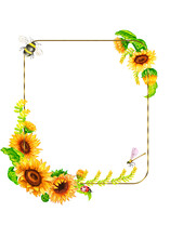 The Composition Of Autumn Leaves Fall Frame,Watercolor Autumn ,Insects,Gold Frames Sunflower.Post Card Of Autumn Season Insects And A Sunflower Are A Sunny Flower.Ladybug, Dragonfly, Butterfly.