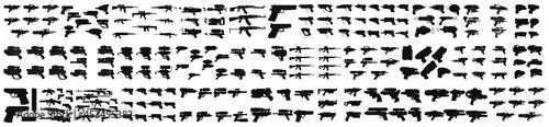 Fotografia Black Silhouette Weapon and Firearm Icons, Gun silhouette on a white backing, Graphic black detailed silhouette pistols, guns, rifles, submachines, revolvers and shotguns